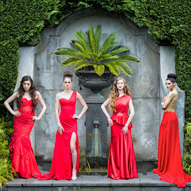 Fashionly red 2 by David Thompson - People Fashion ( designer dresses, models, tacitic photography, fashion, fountain,  )