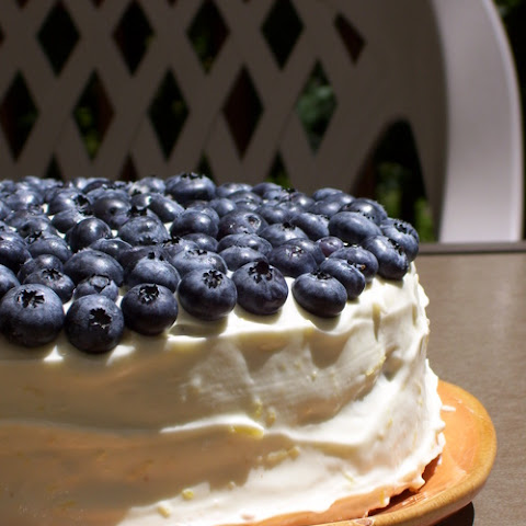 Blueberry Almond Cake with Lemon Cream Cheese Frosting