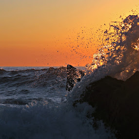 Water by sunset by Gil Reis - Nature Up Close Water ( water, beaches, nature, waves, sea, places, portugal, rocks )