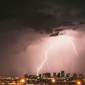Phoenix Strike by Jonathan Stolarski - Landscapes Weather ( thunder, clouds, lightning, az, wx, azwx, arizona, storm chasing, storm, phoenix, rain, downtown, city,  )