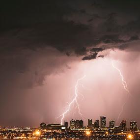 Phoenix Strike by Jonathan Stolarski - Landscapes Weather ( thunder, clouds, lightning, az, wx, azwx, arizona, storm chasing, storm, phoenix, rain, downtown, city,  )