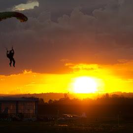 Parachuting at sunset by Alan Milani - Sports & Fitness Other Sports ( sunset, night, landscape, nikon, parachute,  )