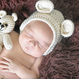 Sweet bear by Melissa Marie Gomersall - Babies & Children Babies ( bear, sweet, knitted, bonnet, baby, cute, newborn, teddy )