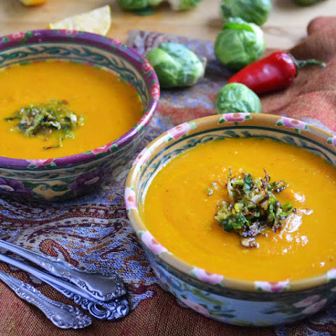 (Vegan) Carrot And Leek Soup with Frizzled Brussels Sprouts