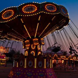Swinging Night At the Fair by Peggy Zinn - City,  Street & Park  Amusement Parks ( cherry festival, childnood memories, festvail rides, summer fun, swing, traverse city,  )