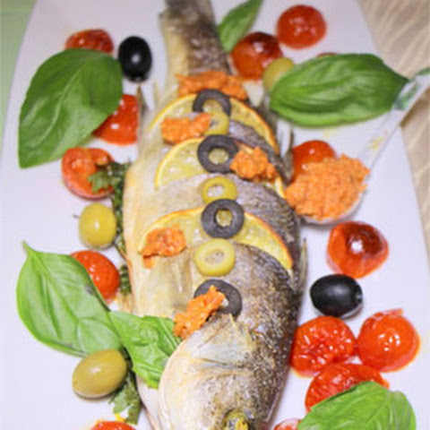 Whole Baked Sea Bass with Olives and Tahini Sauce Recipe | Yummly
