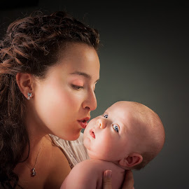 Mother and son by Jocelyne Maucotel - People Family ( love, kiss, mother, bebe, baby boy, portrait )