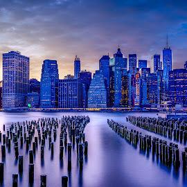 Blue Manhattan  by Luis Silva - City,  Street & Park  Skylines ( usa, golden hour, manhattan, cityscape, long exposure, skyline, new york, nd filter,  )