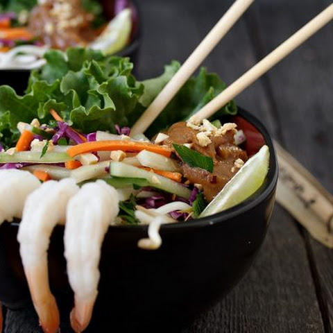 Shrimp Summer Roll Salad with Spicy Peanut Sauce