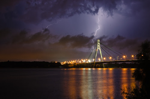 A Thunderstorm #2 by Andrey Dayen - Landscapes Weather ( lightning, ukraine, thunderstorm, pwcfoulweather, kiev, shutter, night, bridge, storm, river,  )