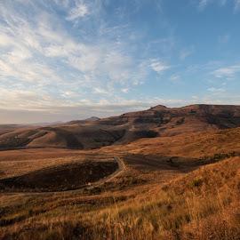 Drakensberg foothills by Colin Thornton - Landscapes Mountains & Hills ( rolling hills, blue sky, mountain range, south africa, natal, grasslands, drakensberg )
