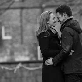 Candid Couple by Jim Edginton - People Couples ( love, black and white, york, candid, couple )