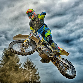 I'm A Bird ! by Marco Bertamé - Sports & Fitness Motorsports ( clouds, motocross, speed, blue, green, jumpflying, air, yellow, high, race, noise )
