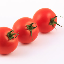 Three Tomatoes by Briand Sanderson - Food & Drink Fruits & Vegetables ( fruit, red, tomato, three, white background, tomatoes )