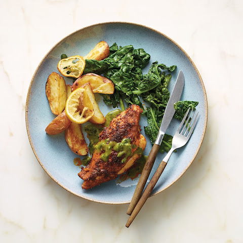 Bobby Flay's Pan-Roasted Chicken With Mint Sauce