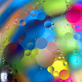 Oil Drops by Janet Herman - Abstract Macro ( abstract, macro, oil in water, colors, floating, reflections )