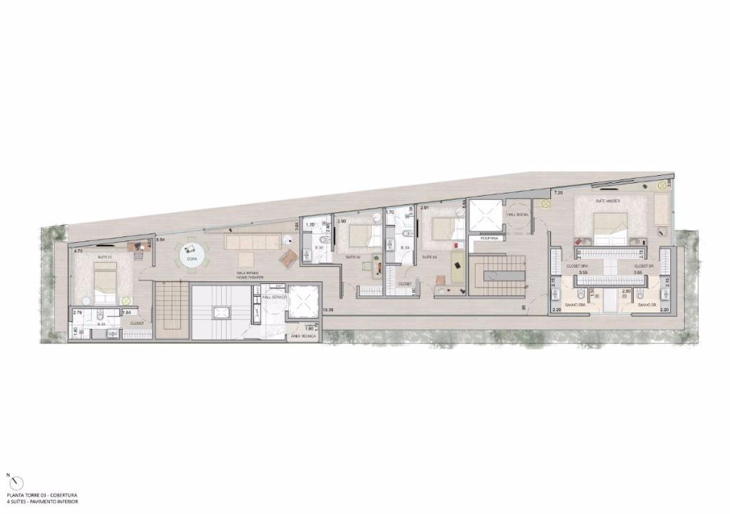 Cobertura Duplex   Pav Inferior  -  535 m²