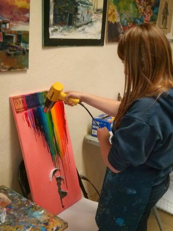 Melting Crayon to create beautiful pieces of art!