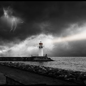 Dramatic sky by Tony Mortyr - Landscapes Cloud Formations ( lightning, sky, light house )