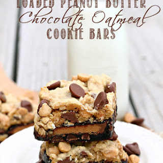 Loaded Peanut Butter Chocolate Oatmeal Cookie Bars