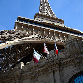 Towering Eiffel above us by Vita Perelchtein - Novices Only Objects & Still Life ( abstract, paris, eiffel tower, vegas strip, hotel, strip, angle, vegas )