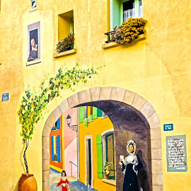 Wall Painting in Sigean by Lajos E - City,  Street & Park  Street Scenes ( sigean, graphic, european, painted, europe, woman, street, art, door, france, french, painting, wall )