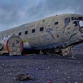 Last landing by Michaela Firešová - Artistic Objects Technology Objects ( iceland, airplane, wreck, beach, douglas dc-3 dakota, black sand,  )