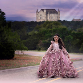 Princess by Carole Brown - Babies & Children Child Portraits ( brown eyes, mauve gown, castle, road, brown hair )