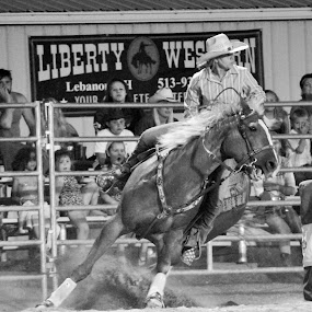 Sights Set by Brian  Shoemaker  - Black & White Sports ( dream big, barrels, rodeo, cowgirl,  )