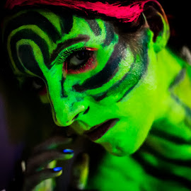 Zebra pattern look by Rob Casey - People Body Art/Tattoos ( b/w, girl, topless, color, black and white, naked, woman, highlighter, zebra, glow, body paint )