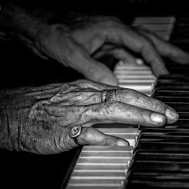 Mr Piano Man by Heather Allen - Black & White Portraits & People