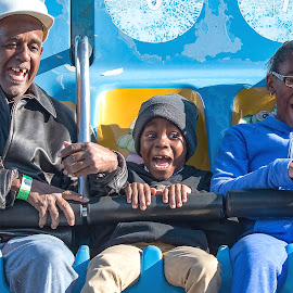 Fun at the Fair by Jackie Nix - People Street & Candids ( excitement, elderly man, editorial, montgomery, carnival ride, joy, happiness, alabama, fun, fair, smiles, entertainment, hat, expressions, child, african american, girl, blue, family, glee, memories, boy )