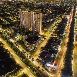 Part of Jakarta by Irfan Firdaus - City,  Street & Park  Night ( cityscape, light trails, travel, building, low light,  )