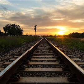 Leading lines........ by Cindy Bester - Transportation Railway Tracks ( clouds, train tracks, sky, sunset, sun )