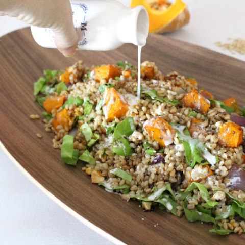 Barley & Pumpkin Salad with Coconut Dressing