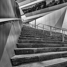 Stairway To... by Steve Badger - Buildings & Architecture Architectural Detail ( south australia, black and white, adelaide, architecture, city )