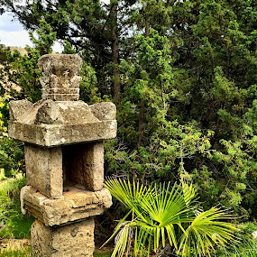 A Crumbling Lantern Pillar by Charline Ratcliff - Buildings & Architecture Statues & Monuments ( lantern pillar, stone pillar, crumbling pillar, green, stone )