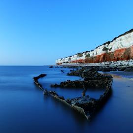 Shipwreck by Peter Jarvis - Landscapes Waterscapes ( cliffs, shipwreck, hunstanton, norfolk, beach )