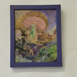 Radioactive Mushroom by Deemarie Valenza - Painting All Painting ( fantasy, cool, mushroom, surrealism, radioactive )