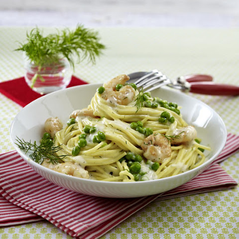 Shrimp, Peas and Spaghetti in Dill Cream Sauce