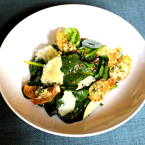 Apple Cheddar Spinach Salad with Apple Cider Vinaigrette and Garlic Parsley Croutons