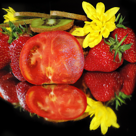 fruits,vegetables with flower by LADOCKi Elvira - Food & Drink Fruits & Vegetables ( fruits )