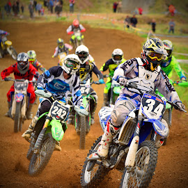 All Together by Marco Bertamé - Sports & Fitness Motorsports ( position, curve, dight, trun, slow down, bike, motocross, dust, inside, motorcycle, clumps, race, crowded, competition )