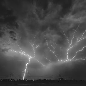 The Perfect Strike by Bryan Snider - Landscapes Weather ( lightning strike, lightning, lightning bolt, thunderstorm, arizona monsoon, monsoon, weather, storm, phoenix, crawler )