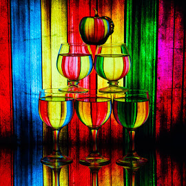 Stacked by Lisa Hendrix - Artistic Objects Other Objects ( sifters, patterns, colorful, color, apple, artistic, reflections, wine glasses )