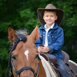 by Kristina Nutautiene - Babies & Children Child Portraits ( cowboy, horse, children, brown, portrait )