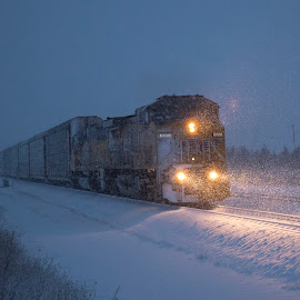 Blizzard by Jeff Cottingham - Transportation Trains ( railroad, union pacific, trains, triple track main, up )