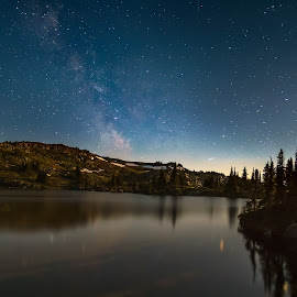 Sheila by Moonlight by Daryl Bell - Landscapes Starscapes ( wells gray park, night, lake, landscape, starscape )
