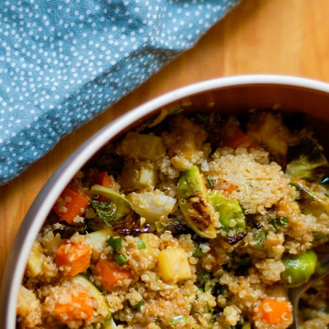 Ginger Scallion Quinoa with Roasted Vegetables