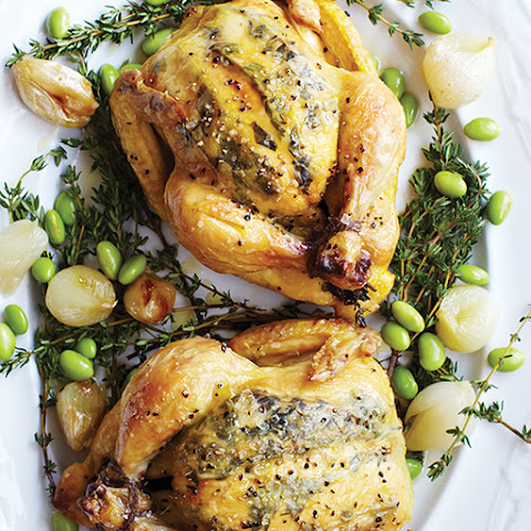 Herb & Lemon Stuffed Cornish Hens with Pearl Onions & Edamame